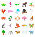 wild animal icons set cartoon style vector image vector image