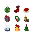 xmas accessories 3d happy new year celebration vector image
