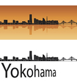Yokohama skyline in orange background