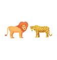 lion and leopard savanna animals in cartoon style vector image