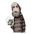 unhappy man drinking beer vector image