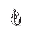 abstract design template of fishing hook vector image vector image