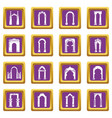 arch types icons set purple square vector image vector image