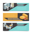 Bakery Factory Isometric Banner Set vector image vector image