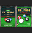 billiards pool game snooker championship posters vector image vector image