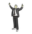businessman with finger point up of two hands vector image