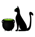Cat and cauldron potion vector image vector image