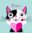cheerful portrait a cat in love with a heart vector image vector image