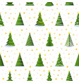 christmas fir tree and 3d gold stars seamless vector image vector image