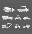 construction machines icons set silhouette vector image