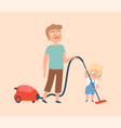 father and son vacuuming householding apartment vector image vector image