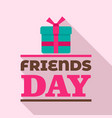 gift box friends day logo flat style vector image