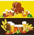 Glasses of light and dark beer with snacks on a vector image