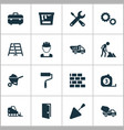 industry icons set collection of wall spatula vector image vector image