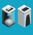 isometric personal paper shredder two documents vector image vector image