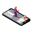 isometric woman skiing searching for cross vector image vector image