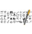 japan doodle set vector image vector image