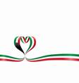 kuwaiti flag heart-shaped ribbon vector image vector image