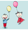 little girl flying with the balloon vector image vector image