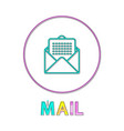 mail round bright linear icon with envelope symbol vector image vector image