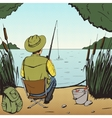 Man fishing on lake pop art style vector image vector image