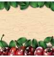Many cherries and leaves on wooden background vector image