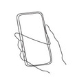 minimalism hand drawn hand holding phone in vector image