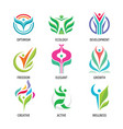 nature ecology logo set human character vector image