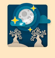 paper art moon fluffy clouds and stars in vector image