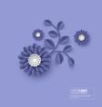 paper cut flower blue color vector image vector image