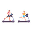 people run on running on treadmill vector image