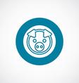 pig icon bold blue circle border vector image