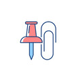 pins and paper clips rgb color icon vector image