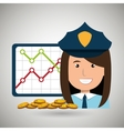 police with statistics graphic and coins isolated vector image vector image