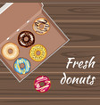 set of colorful glazed donuts in a box vector image vector image