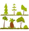Set of stylized trees and bushes cartoon vector image