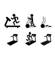 set treadmill and elliptical icons and symbol vector image vector image