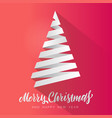 simple christmas tree made from white paper vector image vector image