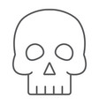 skull thin line icon halloween and horror bones vector image vector image