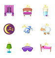 sleep time icons set cartoon style vector image