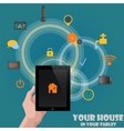 Smart home detectors control concept via tablet vector image vector image