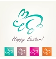 stylized easter rabbit outlined bunny sketch vector image vector image