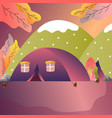tourist tent in forest camp outdoor adventure vector image vector image