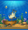 undersea world with ship vector image vector image