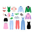 women clothes cartoon fashion girls and adult vector image