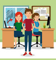 young people group in the workplace office vector image