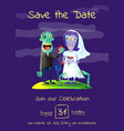 zombie party poster with married zombie couple vector image vector image