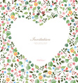 cute frame of heart with couple birds and flowers vector image