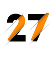 27 2 7 number logo design with a creative cut