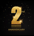 2nd anniversary golden numbers isolated on black vector image vector image